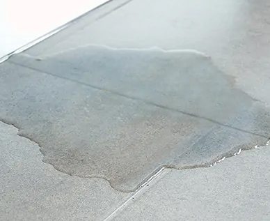 Water pooling on a floor